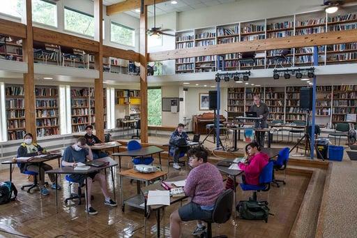 Rock Point School class in library