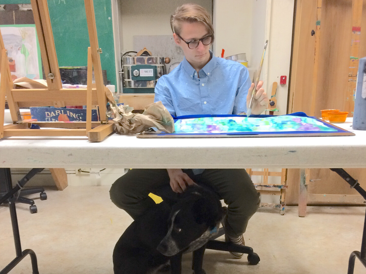 Painting with dog