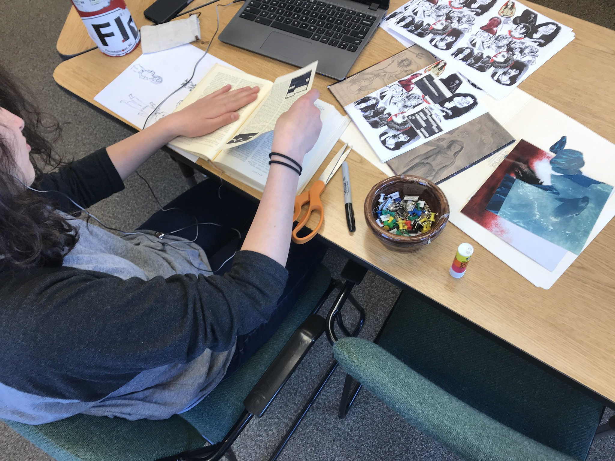 Student Creating Zines at Rock Point School
