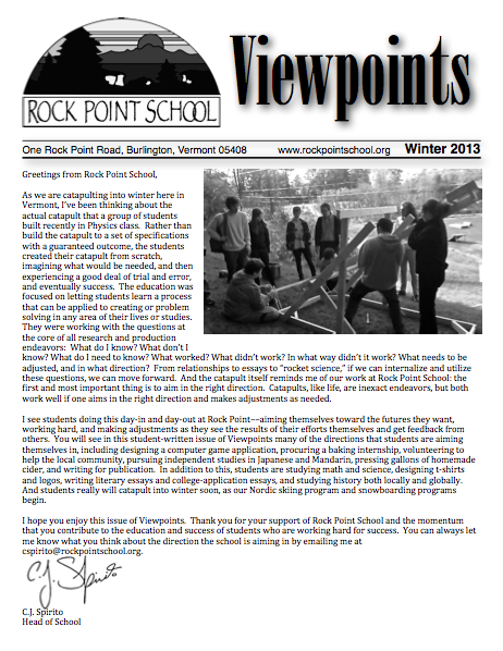 Cover of Viewpoints newsletter for Winter 2013