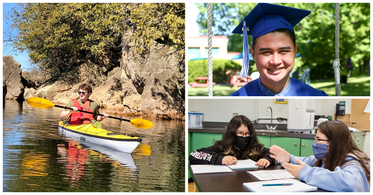 Photo collage of students kayaking, in class, and at graduation.